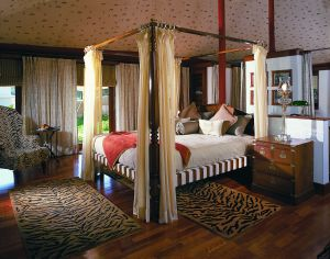 The luxury tents at The Oberoi Vanyavilas are furnished with lavish ornaments that herald the existence of the tiger in Ranthambhore